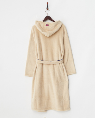BEIGE  FLUFFY HOODED GOWN見る