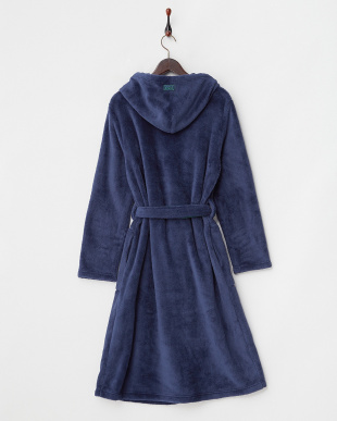 NAVY  FLUFFY HOODED GOWN見る