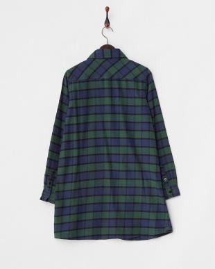 GREEN  SHAGGY PLAID SHIRT DRESS見る
