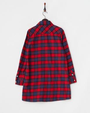 RED  SHAGGY PLAID SHIRT DRESS見る