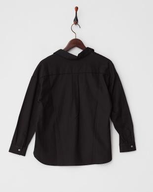 ブラック  フロントタックコットンスキッパーシャツ見る