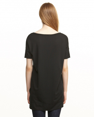 ブラック テンセルシルク混ショートフロントTシャツ見る