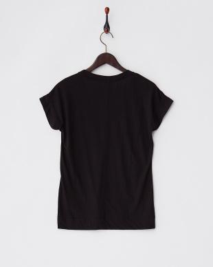 ブラック UネックフレンチスリーブTシャツ見る