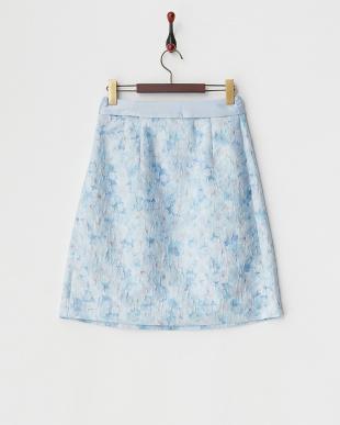 ブルー フラワージャカードスカート見る