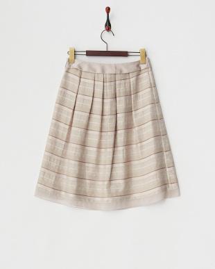 ベージュ 微ラメステッチボーダースカート見る