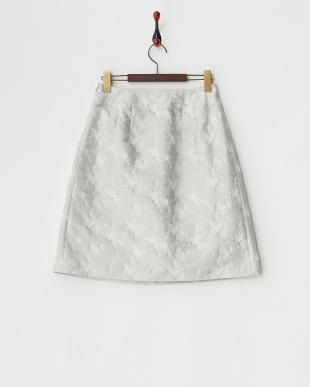 グレー  フラワージャカードスカート見る