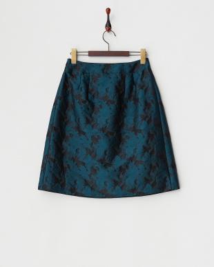 ダークグリーン  フラワージャカードスカート見る