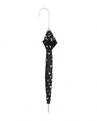 ブラック×ホワイト  雨晴兼用 58cmドット長傘見る