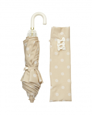 ベージュ×ホワイト  雨晴兼用 50cmドット折りたたみ傘見る