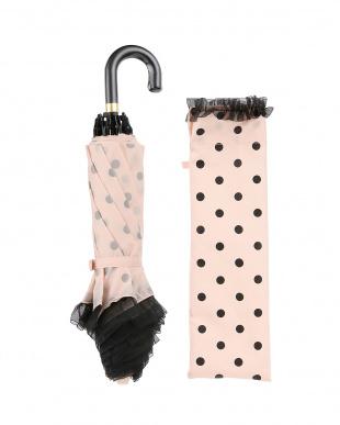 ピンク×ブラック  雨晴兼用 50cmドット柄折りたたみ傘見る