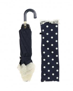 ネイビー×ホワイト  雨晴兼用 50cmドット柄折りたたみ傘見る