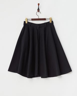 ネイビー コットンツイルフレアスカート見る