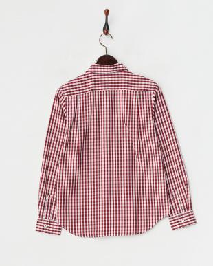 レッド  ポイントポケットギンガムチェックシャツ見る