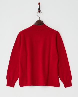 レッド  カシミヤ100%リブネックセーター見る