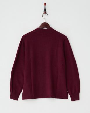 ワイン  カシミヤ100%リブネックセーター見る