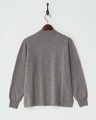 グレー  カシミヤ100%リブネックセーター見る
