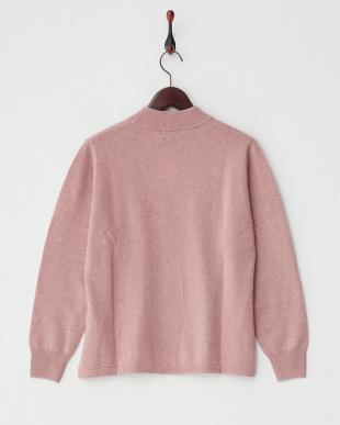 サーモンピンク  カシミヤ100%リブネックセーター見る