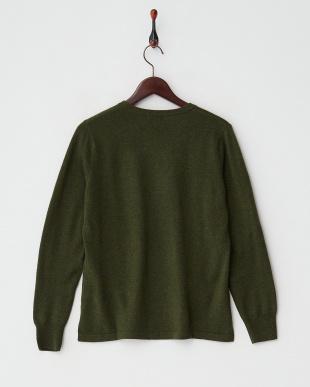 グリーン  カシミヤ100%ラウンドネックセーター見る