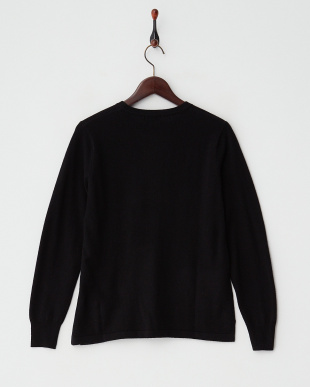 ブラック  カシミヤ100%ラウンドネックセーター見る