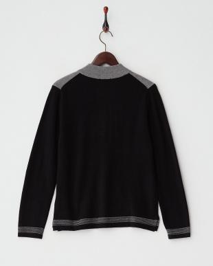 グレー/ブラック  カシミヤ100%ラインストーン配色セーター見る
