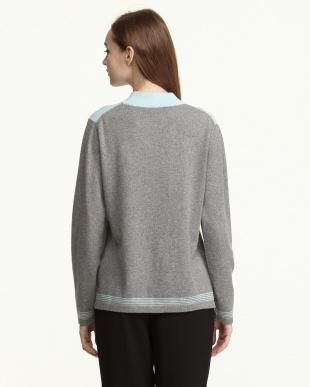 ライトブルー/グレー  カシミヤ100%ラインストーン配色セーター見る