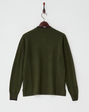 グリーン/ブラック  カシミヤ100%ラインストーンキャットセーター見る