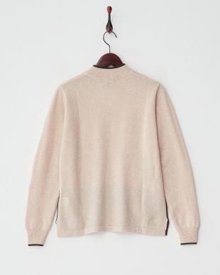 ベージュ/ブラウン  カシミヤ100%ラインストーンキャットセーター見る