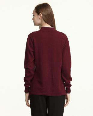 ワイン/グレー  カシミヤ100%配色セーター見る