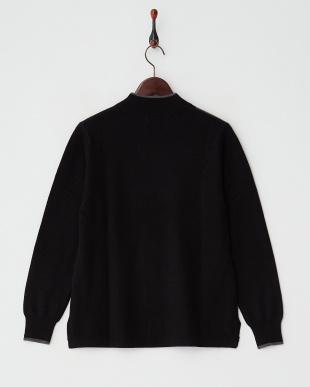 ブルー/グレー  カシミヤ100%配色セーター見る