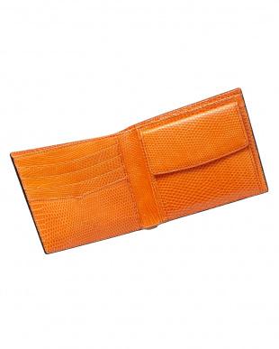 ブラック×オレンジ  リザード 二つ折りウォレット見る