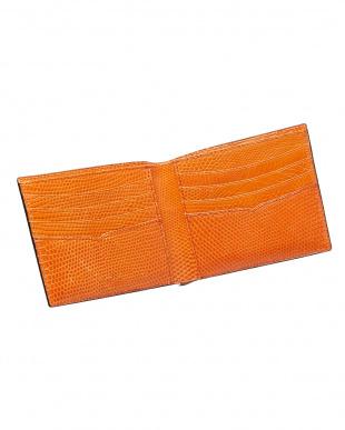 ブラック×オレンジ  リザード 二つ折り札入れ見る