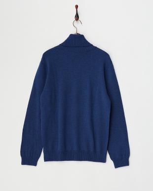 ブルー  Baruffa タートルネックセーター見る