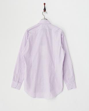 ピンク  チェック柄ボタンダウンシャツ見る