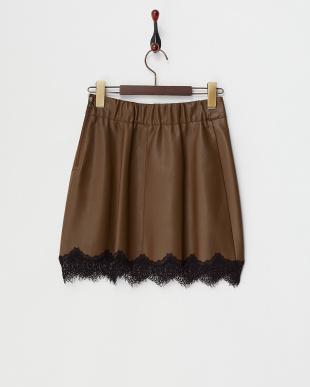 ブラウン  裾レースフェイクレザーミニスカート見る