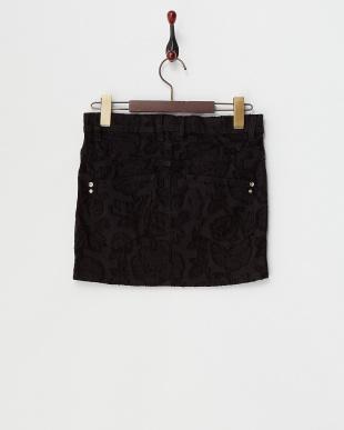 ブラック フラワー柄ストレッチミニスカート見る