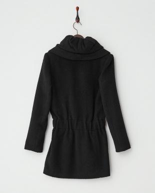 ブラック  ショール衿起毛コート見る