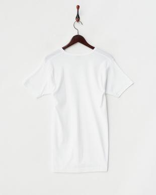 ホワイト GOLD 綿100% V首半袖Tシャツ見る