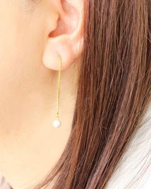 ゴールドカラー  あこや本真珠 ベビーパール 5.5~6mm 一粒ヨーロピアンピアス見る