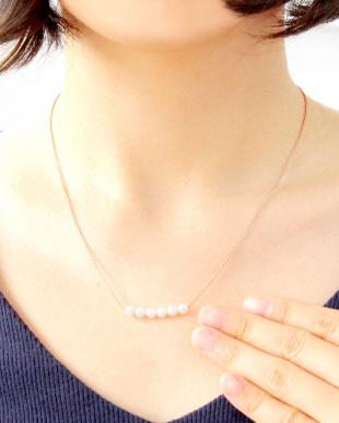 ピンク  あこや本真珠 ベビーパール 4.5mm 固定6Pラインネックレス見る
