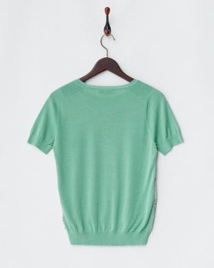 グリーン  ボタニカル柄 シルクコットン半袖プルオーバー見る