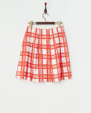 レッド チェックプリントスカート見る