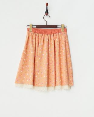グレイッシュピンク アメ玉カラードット スカート見る