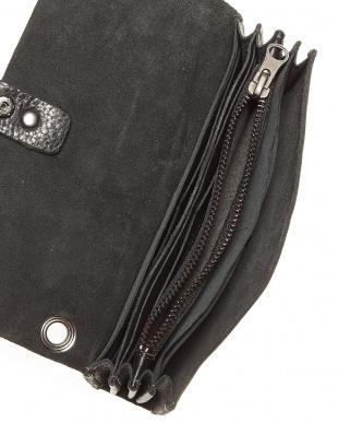 ブラック  牛革 かぶせ長財布見る