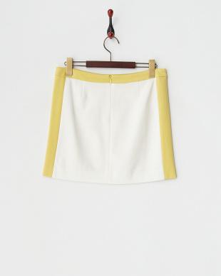 イエロー  キュプラモダールポンチ配色タテハギタイトスカート見る