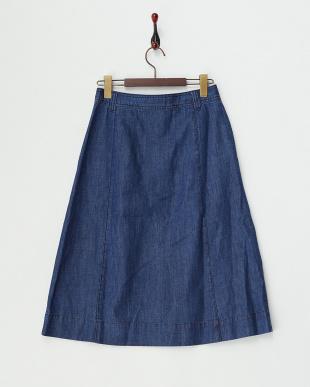 BLUE  フロントボタンデニムミディスカート見る