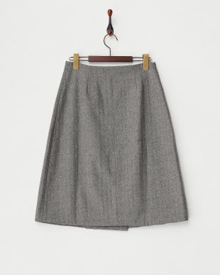BLACK  ヘリンボーンウールラップスカート見る