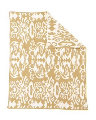 CAMEL/CRÈME  THROW DAMASK PATTERNED ブランケット見る