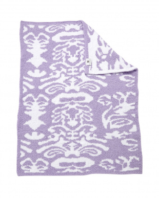 LAVENDER/WHITE DAMASK  HALF THROW-DAMASK ブランケット見る