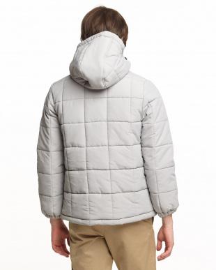 グレー ナイロン中綿ジャケット見る
