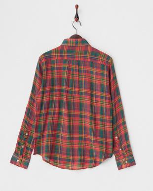RED  クレープマドラスチェックシャツ見る